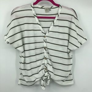 Paper Crane White Olive Striped Button Up Knot Tee